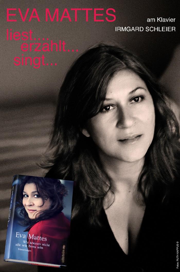 Eva Mattes singt, spielt, rezitiert, populäre Chansons und Balladen (© Plakat von Ruth Kappus)